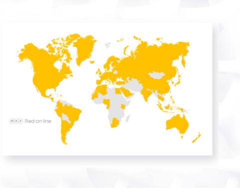 Red-on-line favorise l'engagement des utilisateurs, nous accompagnons nos clients sur 84 pays.